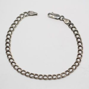Jewelry - Sterling Double Curb CHARM Chain Bracelet 7.25